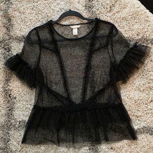 H&M black mesh t-shirt size S
